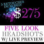 Five-Look Headshot Photography Session w Live Preview *retouching included